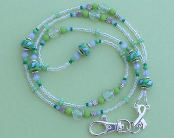 O O A K - Handmade Lampwork Glass Beaded Lanyard ID Badge Holder – LIMEADE RIBBONS - AW158
