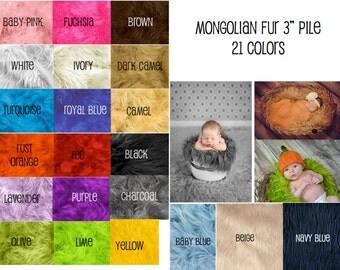 """36""""x30"""" Medium Size Mongolian faux fur basket stuffer, newborn photography,   19 colors available 3"""" pile"""