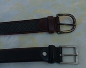leather  MEN belts 85 cm /34 inch never been worn brand names made in France circa 1994's