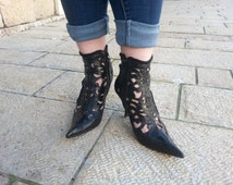 free shipping hand made leather boots size 38 /39 made in Italy  GIUSEPPE ZANUTTI  circa 1990's