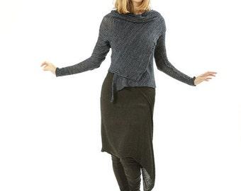 Cardigan handmade  knitted  Women- Blue women jacket