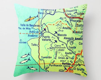 Map Pillow Cover, Mexico Pillow, Decorative Pillow, Any Map of  Mexico, Guy Gift Puerto Vallarta, Acapulco Baja Yucatan map Quintana Roo