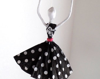 Paper Dancing Lady in Black and White Polka Dot