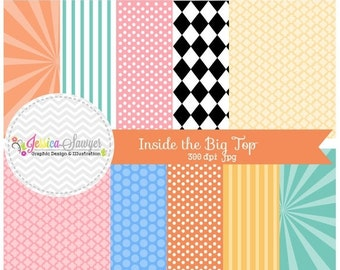 80% OFF - INSTANT DOWNLOAD, , circus digital paper, circus backgrounds, for commercial use, scrapbooking, invitations