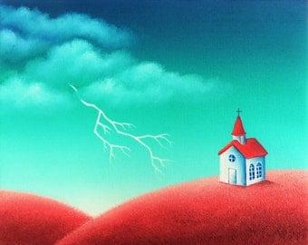 ORIGINAL Painting, American Folk Art Landscape Painting, Primitive Folk Art Painting on Canvas, Primitive Church, Lightning Storm, 8x10