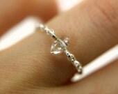 Sterling silver herkimer diamond chain ring