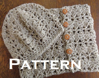 Crochet PATTERN Chunky Lace Cowl and Beanie Pattern Only DIY