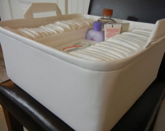 """EExLarge Diaper Caddy-14""""W x13""""Dx 7""""H-Choose Colors-Two Dividers-Baby Gift-""""Cream/Ivory/Off White"""""""