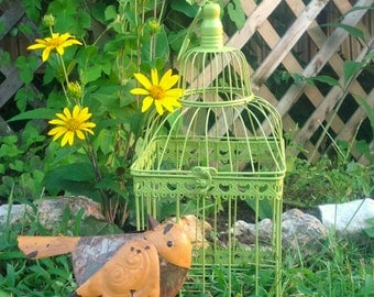 Square Wire Birdcage - Lime Green Cottage Chic Table Top Garden