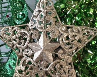 """Christmas Tree Topper - 7"""" Scrolled Glittery Gold Star Christmas Tree Topper / Metal Star / Christmas Holiday Decor"""