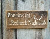 Rustic Home Decor Redneck Sign Bonfire Sign Bar Decor Hunting Cabin Decor Lodge Decor Definition Sign Funny Wood Sign Party Sign Deer