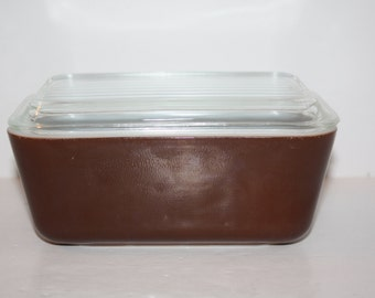 Vintage Pyrex Refreigerator Dishes with Lids Brown/Pyrex  502/Pyrex Brown Refrigerator Dish