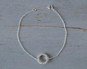 Silver Sparkle Bracelet - Crystal Detail Sterling Silver Bracelet - Adjustable chain