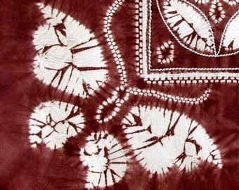 Vintage Asain Cotton Tie Dye Tablecloth Brown Butterfly Shibori