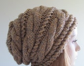SALE Slouchy Beanie Slouch Hats Braided Oversized Baggy Cable Hat  Womens Fall Winter accessory Grey Beige Brown  Hand Made Knit