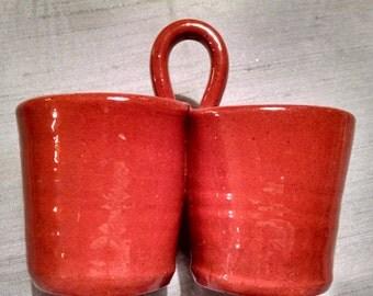 Terracotta , Handled Double Pot