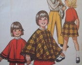 Vintage Simplicity Pattern 9531 Child's Jiffy Skirt, Pants, and Poncho Size 3