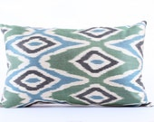 Green Zigzag Silk Ikat Pillow Cover Decorative Throw Pillow Case Cushion Cover Decor Modern Pillow Cover Zigzag Green Ikat Pillow