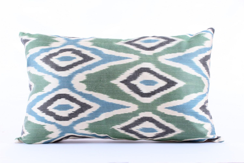 Green Zigzag Silk Ikat Pillow Cover Decorative Throw Pillow