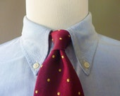 Vintage Brooks Brothers MAKERS Pure Silk Gold Dots on a Maroon Background Trad / Ivy League Neck Tie.  Woven in England.  Made in USA.