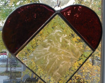 Heart in Stained Glass Sun Catcher