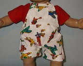 15 or 16 inch Boy Bitty Baby short overalls and red 2 shirt  airplane print, 2 piece top and short overalls