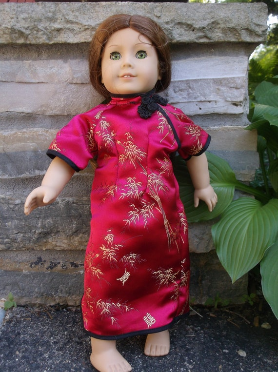 Asian Oriental Traditional Chinese dress Qipoa or Cheongsam  Kimono for 18 inch American girl dolls by Project Funway on Etsy