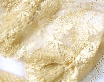 """Antique Cotton Lace Intricate Tambour Tulle 52"""" by 6 1/4"""" wide; Golden Ecru French Trim"""