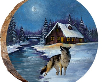 Wolf with Winter Moon - DAD051