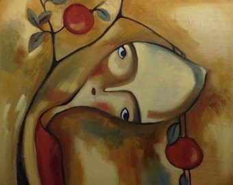 Apple Tree Soul . Original one-of-a-kind oil painting .Ready to ship.