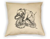 Elephant  Riding Bicycle Pillow Cover, Vintage Elephant Illustration Pillow, Circus Pillow, Elephant Line drawing Pillow,