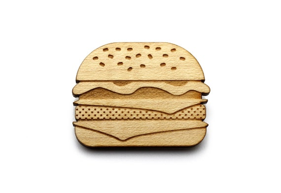 Burger brooch - hamburger pin - cheeseburger jewelry - lasercut maple wood - graphic retro kitsch jewellery
