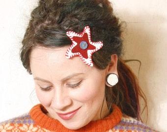 Star hair clip Leather hair clip Gift for her White hair clip Holiday hair Kids hair clip Plaid hair accessory Red white hair clip