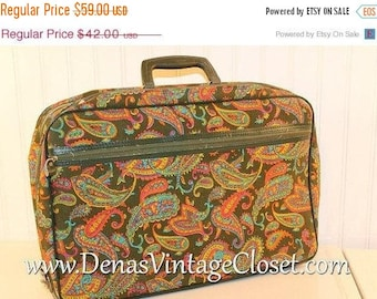 60% OFF Clearance Sale 60s Mod Bantam Luggage Suitcase Over Night Bag Travel Case Green Pink Paisley Print