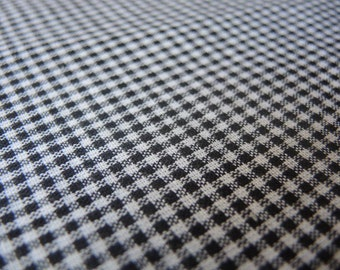 Vintage soft cotton gingham small print black and white 2 yards 44 inches wide