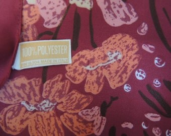vintage 1970s scarf abstract floral polyester made in Italy burgundy and peach 12 x 53 inches