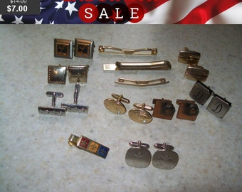 SALE 50% Off Vintage mens jewelry lot, cuff links, tie clips misc lot