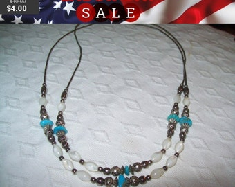 SALE 60% Off vintage turquoise beaded necklace, hippie, boho