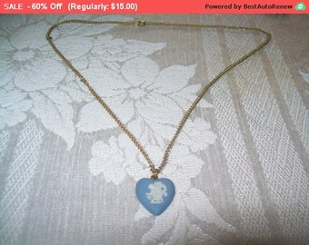 SALE 60% Off Vintage Wedgwood heart pendant, Wedgwood pendant, heart pendant, 70s