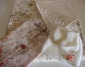 Baby blanket with minky back. Enchanted forest theme. Woodland animals. Gift set with nappy clutch, beanie and bootees