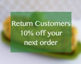RETURN CUSTOMER discount-- returning customers, 10 percent discount, Etsy sale, discount coupon,