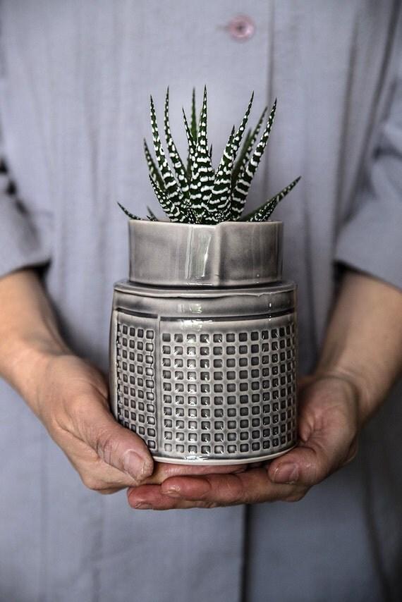 Ceramic Planter Gray Succulent Planter Modern Ceramic Plant