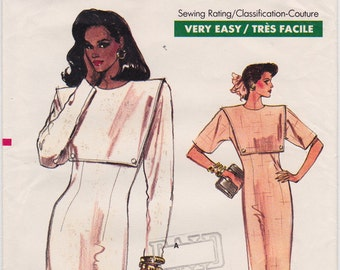 FF 80s Very Easy Very Vogue Dress Vintage Sewing Pattern - Vogue 7059 - Misses Dress Size 6-8-10, Bust 30.5 to 32.5, UNCUT