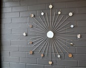 Starburst Sunburst Retro Mid Century Modern Metal Wall Art Mirror Handmade Steel Silver Sculpture Interior Home Decor Design Ready to ship!