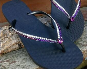 Havaianas Slim flat Flip Flops Purple Amethyst & Moonlight Cream Rocks GlassSlippers w/ Vintage Swarovski Rhinestone Bling Black Thong Shoes