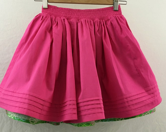Twirly Skirt - Reversible Kids Skirt -Kid's Green Skirt - Girls Pink Skirt - Back To School Skirt -Girls Summer Clothes - Layered Skirt