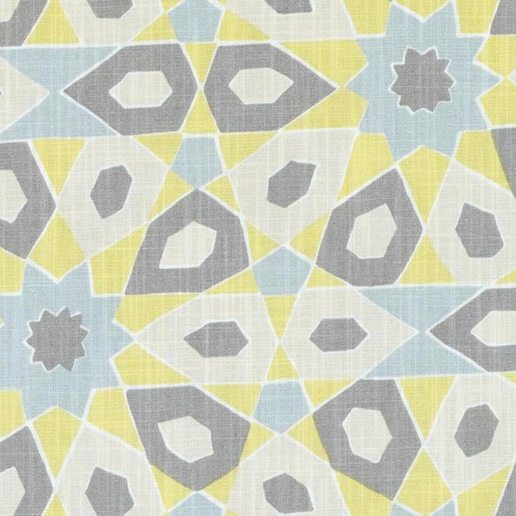 Yellow Blue Grey Geometric Upholstery Fabric Modern Grey Yellow Curtains Contemporary Blue