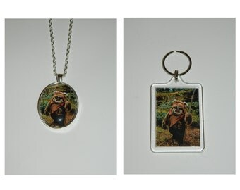 Star Wars Ewok Wicket Glass Pendant Necklace and/ or Keychain