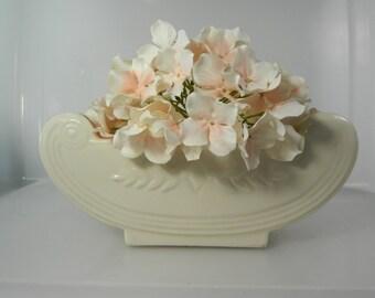 Vintage Pottery Planter, Bowl Abingdon USA Pottery 536 White Scroll Planter Pottery