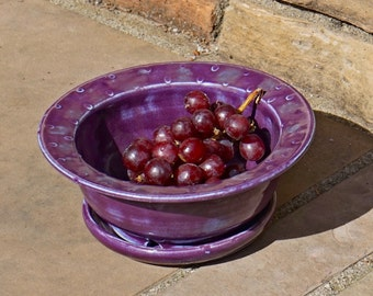 Purple Berry Bowl Fruit Bowl with saucer- Hand thrown, stoneware pottery